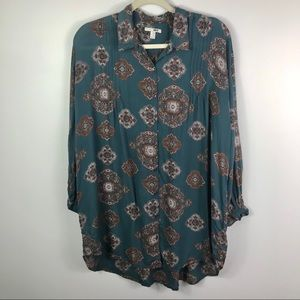 Amuse Society paisley high low button down blouse